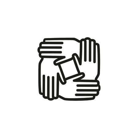 Teamwork line icon illustration on white background.