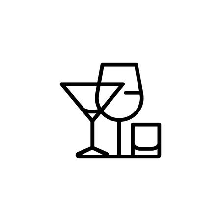 Alcoholic drinks icon illustration on white background.