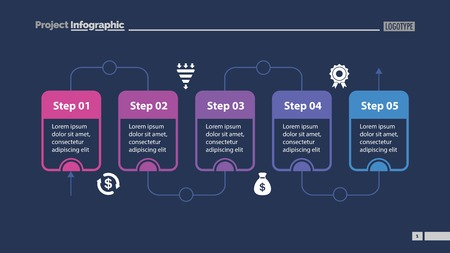Five Steps of Workflow Slide Template design illustration.
