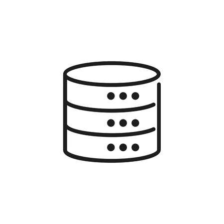 Cylindrical database icon illustration on white background.