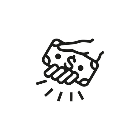 Icon of giving money. Hand, dollar, commerce. Donation concept. Can be used for topics like bribery, financial crime, banking. Illustration