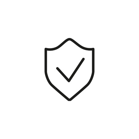 Icon of protective shield. Guard, confirmation, quality. Safety concept. Can be used for topics like computer virus, privacy, security