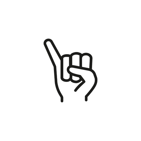 Fist with elongated little finger line icon