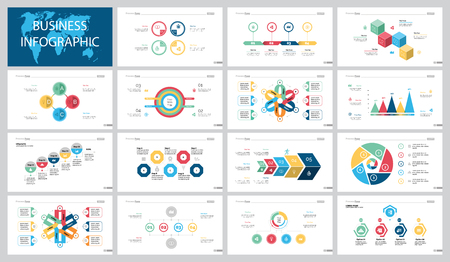 Colorful logistics or marketing concept infographic charts set Vectores