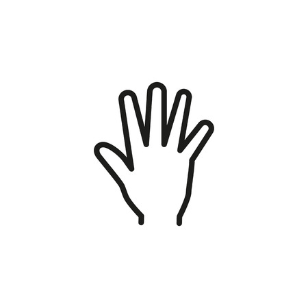 Open hand line icon. Palm, arm, help Illustration