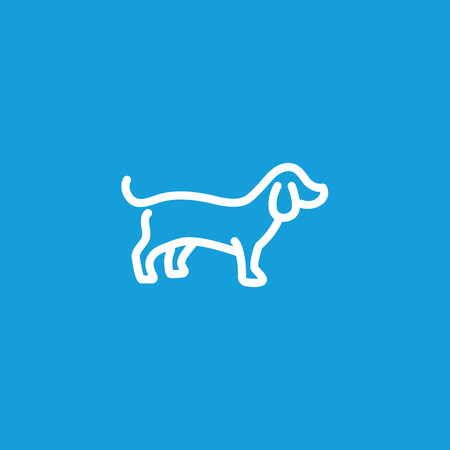 Badger Dog Line Icon isolated on light background.