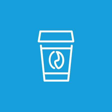 Icon of coffee cup, linear illustration on colored background.