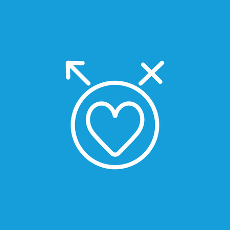 Line icon of heart in circle with male and female symbols. Intimacy, affection, lovers. Love concept. Can be used for topics like relations, emotions, feelings
