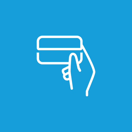 Icon of human hand holding credit card. Money, banking, payment. Finance concept. Can be used for topics like exchange, electronic payment, finance.