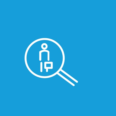 Icon of human resource searching. Magnifier, personnel, employee. Human resource concept. Can be used for topics like head hunting, employment, workforce. Illustration