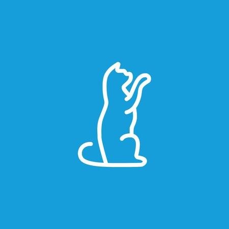 Playing Kitten Line Icon Illustration