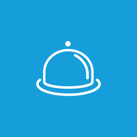 Dish with cloche line icon on blue background