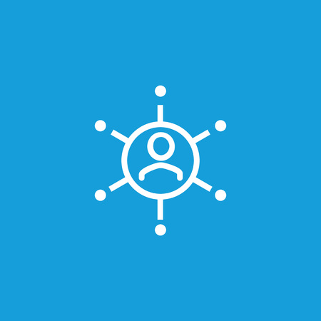 Icon of man with connection links. Company, connection, department. Business relationship concept. Can be used for topics like management, organization, structure