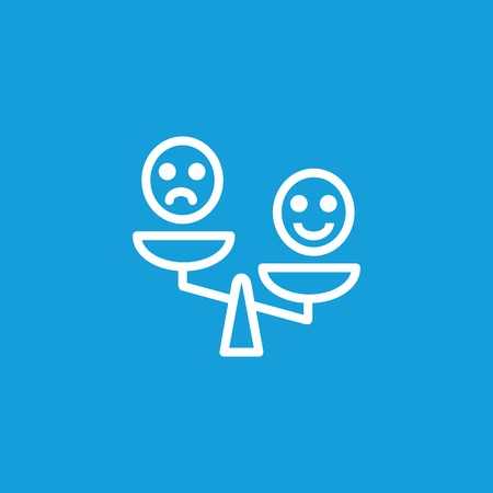 A Smiley Emoticons on Scales Line Icon isolated on plain background.