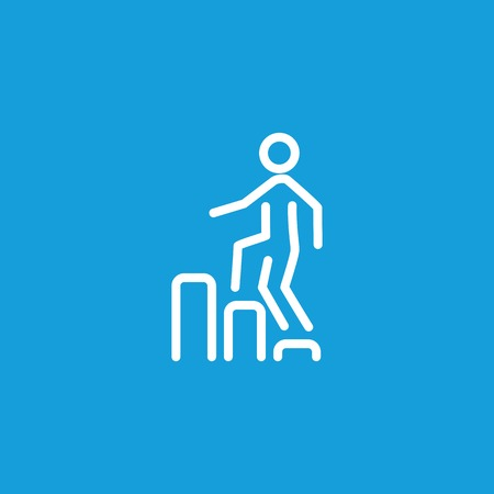 Man Going Upstairs on Diagram Line Icon