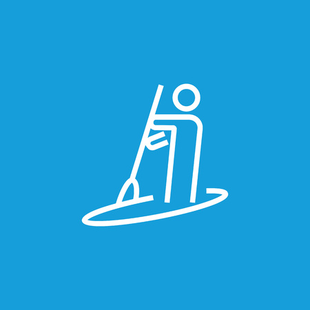 Man rowing boat line icon