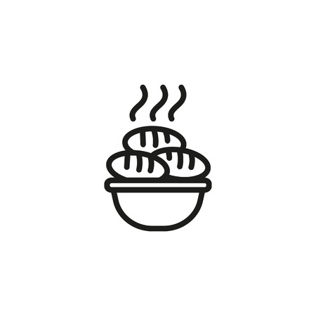 Line icon of bowl with hot patties.