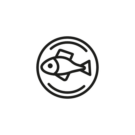 Top view of fish on tray line icon