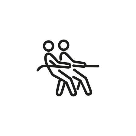 Tug of war line icon Illustration