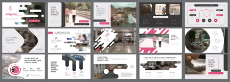 Pink, white and grey infographic elements for presentation
