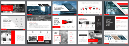 Red, white and black infographic elements for presentation