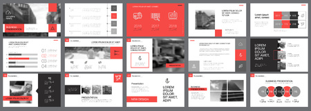 Red, white and grey infographic elements of presentation