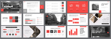 Template of red and grey slides for presentation Vectores