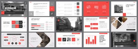 Szablon czerwonych i szarych slajdów do prezentacji Ilustracje wektorowe