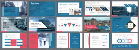 White, blue and pink slides for reports and presentation