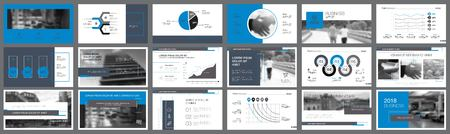 Blue and black statistics or marketing concept infographics set. Business design elements for presentation slide templates. Can be used for financial report, workflow layout and brochure design.