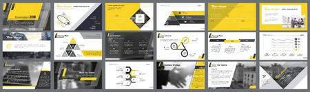 Gelbe, weiße und schwarze Infografik-Designelemente für Präsentationsfolienvorlagen. Das Geschäfts- und Produktionskonzept kann für Finanzberichte, Workflow-Layout und Broschürendesign verwendet werden.