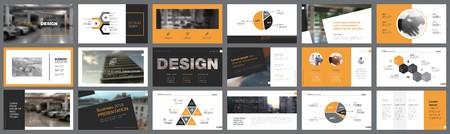 Elementi di design infografico arancione, bianco e nero per modelli di diapositive di presentazione. Il concetto di business e avvio può essere utilizzato per report aziendali, pubblicità, layout di volantini e poster.