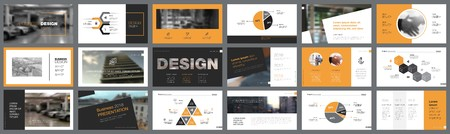Orange, white and black infographic design elements for presentation slide templates. Business and startup concept can be used for corporate report, advertising, leaflet layout and poster design.