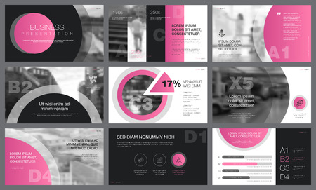 Pink, black and white slides with toned photos for presentation templates. City business concept can be used for marketing reports, promotion, advertising, layouts and flyer design Ilustração