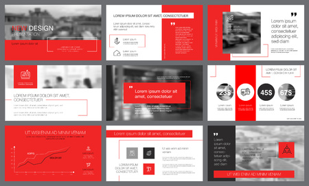 Red and grey infographic elements with toned photos. Annual report or presentation slide templates. City business concept can be used for marketing, advertising, promotion, layouts and poster design Imagens - 100384527
