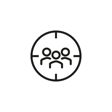 Icon of focus group. Aim, team, participant. Marketing purpose concept. Can be used for topics like target audience, survey, marketing