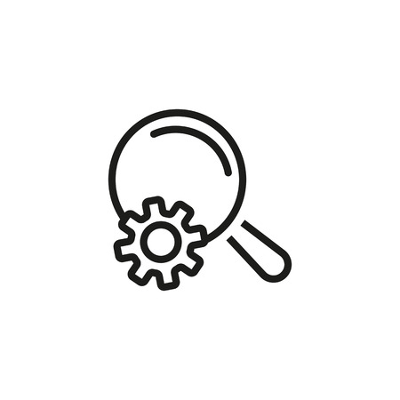 Icon of SEO research. Magnifying glass, engine, analyzing. Optimization concept. Can be used for topics like marketing, monitoring, strategy