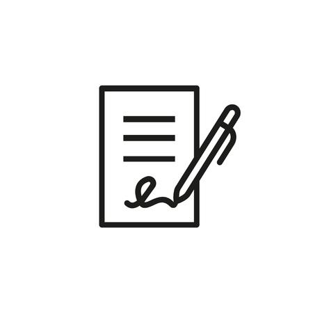 Vertragsunterzeichnungssymbol. Bericht, Brief, wird. Deal-Konzept. Kann für Themen wie Wirtschaft, Bildung, Korrespondenz verwendet werden
