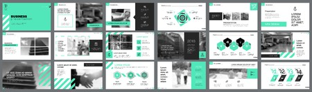 Green, white and black infographic design elements for presentation slide templates. Business and training concept can be used for annual report, advertising layout and banner design.