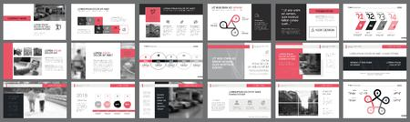 Black and pink marketing or planning concept infographics set