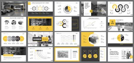 Yellow, white and black infographic design elements for presentation slide templates. Business and analytics concept can be used for financial report, advertising, workflow layout and brochure design. Foto de archivo - 100815955