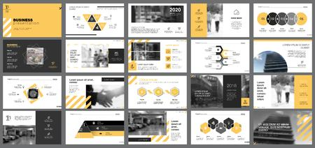 Yellow, white and black infographic design elements for presentation slide templates. Business and banking concept can be used for financial report, advertising, workflow layout and brochure design.