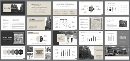 Black and grey marketing or planning concept infographics set. Business design elements for presentation slide templates. For corporate report, advertising, leaflet layout and poster design.
