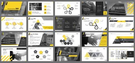Elementos de diseño infográfico amarillo, blanco y negro para plantillas de diapositivas de presentación. El concepto de negocio y flujo de trabajo se puede utilizar para informes corporativos, publicidad, diseño de folletos y diseño de carteles.
