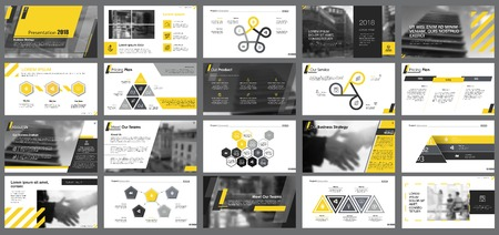 Yellow, white and black infographic design elements for presentation slide templates. Business and workflow concept can be used for corporate report, advertising, leaflet layout and poster design.