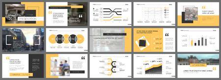 Elementi di design infografica gialli e neri per modelli di diapositive di presentazione. Il concetto di business può essere utilizzato per volantini pubblicitari, banner e web design