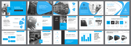 White, blue and black infographic elements for presentation  イラスト・ベクター素材