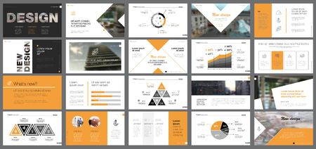 Orange and black logistics or management concept infographic set