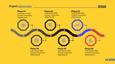 Six phase process chart design Illusztráció