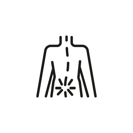 Rheumatism icon. Linear style illustration. Back with spinal pain, osteoporosis, sciatica. Body aches concept. For health, medicine, disease of aging